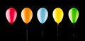 Five colorful balloons Stock Photos