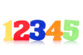 Five colorful digits on white background Stock Image