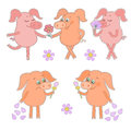 Five cute cartoon piglet stickers Happy and sad pigs with a flower in a hand. Royalty Free Stock Photo