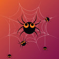 Five dancing spiders black in a web celebrating halloween Stock Photo