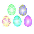 Five decorative easter eggs white background Stock Photography