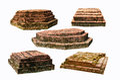 Five destroyed brick pagoda bases on white background Stock Image