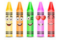 Five Different Color Crayon Mascots with Different Facial Expressions Royalty Free Stock Photo