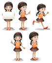 Five different positions of a girl illustration the on white background Stock Photography