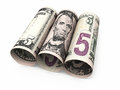 Five dollar banknotes roll Royalty Free Stock Photo