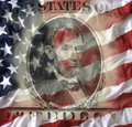 Five dollar bill with American flag Royalty Free Stock Photo