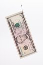 Five dollar bill on a hook. Royalty Free Stock Photo