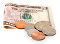 Five dollar and cents Royalty Free Stock Images
