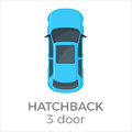 Five Doors hatchback Top View Flat Vector Icon Royalty Free Stock Photo