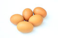 Five eggs isolated on white background Royalty Free Stock Photo