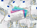 Five euro background and credit card cards on banknotes Stock Image