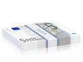Five euro banknotes stack on a white background Stock Photos