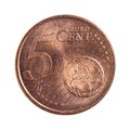 Five euro cents detailed shoot of Royalty Free Stock Image