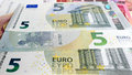 Five Euro money background Royalty Free Stock Photo