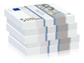 Five euro stacks banknotes on a white background Stock Photography