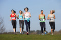 Five female runners training for race running towards camera Royalty Free Stock Images