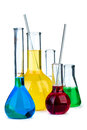 Five flasks with different chemical agents Royalty Free Stock Photo