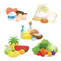 Five food group illustrations or graphics of groups including meats pastries fruits and vegetables Royalty Free Stock Photography