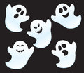 Five ghosts cartoon illustration of with different expressions for halloween time Royalty Free Stock Images