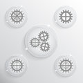 Five glass icons on a gray background Stock Photos