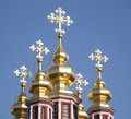 Five golden domes of the church russia moscow Stock Photography
