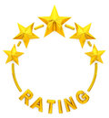 Five golden star rating Royalty Free Stock Photo