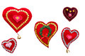 Five handmade hearts on a white background isolation Stock Photo