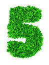 Five. Handmade number 5 from green scraps of paper Royalty Free Stock Photo