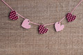 Five hearts on the wooden background Royalty Free Stock Photos