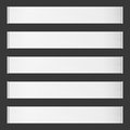 Five horizontal vector roll blank banners on black