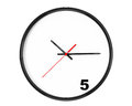 Five hours concept clock with focus on sign a white background Royalty Free Stock Photo
