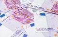 Five hundred euro notes on the ground Royalty Free Stock Images