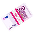 Five hundred euro pack hundreds banknotes on a white background Royalty Free Stock Photos