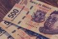 Five hundred mexican pesos bills photograph Royalty Free Stock Photo