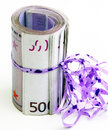 Five hundreds as a gift with ribbons Royalty Free Stock Photo