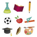 Five icons for school different related to some stuff in Royalty Free Stock Image