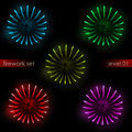 Five isolated colorful explosions splash firework set Royalty Free Stock Photo