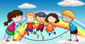 Five kids playing in front of a rainbow illustration the Royalty Free Stock Photos