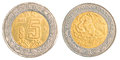 Five mexican peso coin isolated on white background Royalty Free Stock Photo