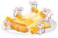 Five mice with cheese and biscuits illustration of the on a white background Royalty Free Stock Image