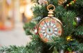 Five minutes left christamas tree decoration with clocks showing to new year Royalty Free Stock Photo