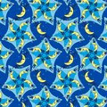 Five moons mandala pattern sleepytime design of smiling for your pajama parties seamless wallpaper Royalty Free Stock Image