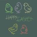 Five neon Easter chicken.