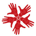 Five open hands abstract symbol with pentagonal star detailed vector illustration hand sign Royalty Free Stock Image