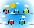stock image of  Five owls day