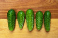 Five pickles in a row fresh homegrown picklebush variety lined up on cutting board Royalty Free Stock Photography