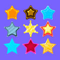 Five-Point Colorful Cartoon Star Collection For Flash Video Game Rewards , Bonuses And Stickers Royalty Free Stock Photo