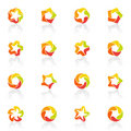 Five-pointed stars. Vector logo template set. Royalty Free Stock Image