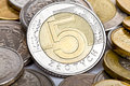 Five Polish zloty coin Stock Image