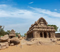 Five rathas mahabalipuram tamil nadu south india ancient hindu monolithic indian rock cut architecture Royalty Free Stock Photography